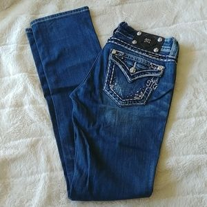 Miss Me straight leg distressed jeans blue Size 26